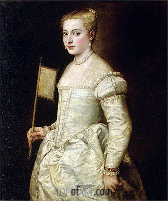 Portrait of a Lady in White, undated | Titian | Painting Reproduction