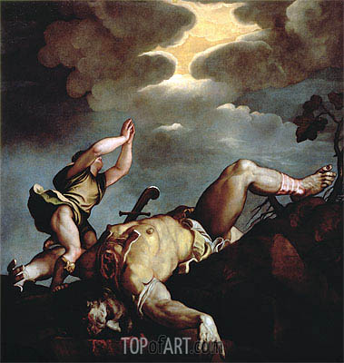 David's Victory over Goliath,  | Titian | Gemälde Reproduktion