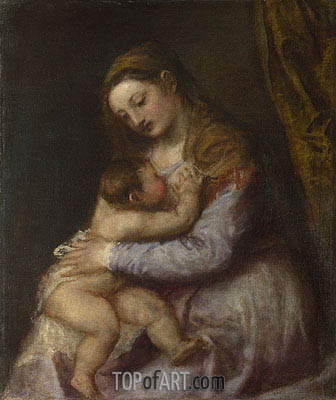 The Virgin Suckling the Infant Christ, c.1565/75 | Titian| Gemälde Reproduktion