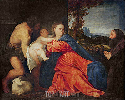 Virgin and Infant with Saint John the Baptist and Donor,  | Titian| Painting Reproduction