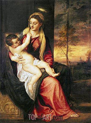 Virgin with Child at Sunset, 1560 | Titian | Painting Reproduction