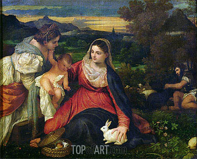Madonna and Child with St. Catherine (The Virgin of the Rabbit), c.1530 | Titian| Painting Reproduction