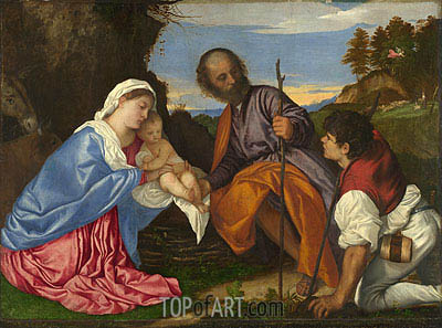 The Holy Family and a Shepherd, c.1510 | Titian | Gemälde Reproduktion