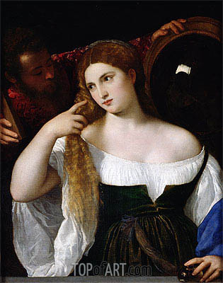 Woman with a Mirror, c.1512/15 | Titian | Painting Reproduction