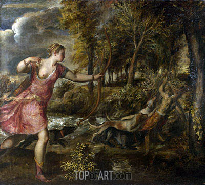 The Death of Actaeon, c.1559/75 | Titian| Gemälde Reproduktion