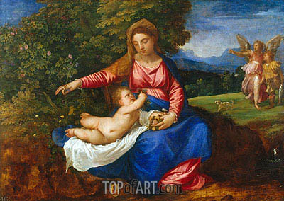 The Virgin and Child in a Landscape with Tobias and the Angel, c.1535/40 | Titian | Painting Reproduction