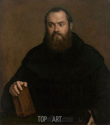 A Monk with a Book, c.1550 | Titian | Gemälde Reproduktion