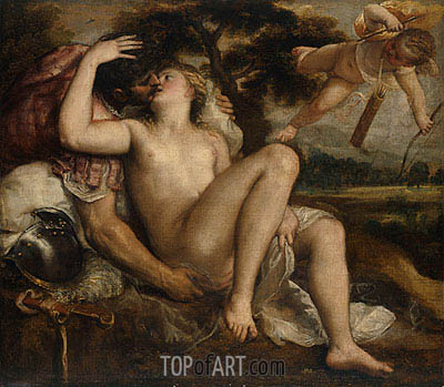 Mars, Venus and Cupid, c.1530 | Titian| Painting Reproduction