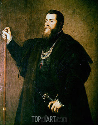 Portrait of a Knight of the Order of Santiago, 1542 | Titian | Gemälde Reproduktion