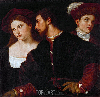 Self Portrait with Friends, undated | Titian| Painting Reproduction
