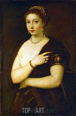 Young Woman with Fur, c.1535 | Titian | Gemälde Reproduktion
