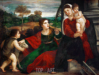 Madonna and Child with Saint Agnes and Saint John Baptist, undated | Titian| Gemälde Reproduktion