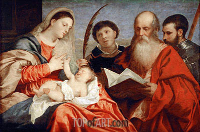 Saint Mary with Child and Saints Stephen, Jerome and Maurice, c.1520 | Titian| Painting Reproduction