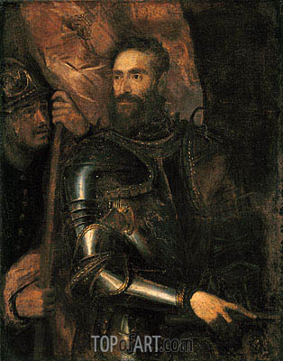Portrait of Pierluigi Farnese with His Standard Bearer, 1546 | Titian| Painting Reproduction