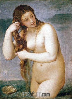 Venus Rising from the Sea (Venus Anadyomene), 1520 | Titian | Painting Reproduction