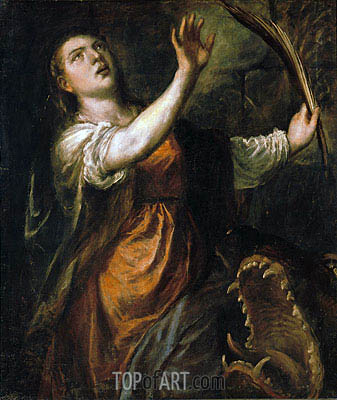Saint Margaret and the Dragon, c.1565/70 | Titian| Painting Reproduction