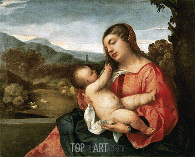 Madonna and Child in the Countryside, 1510 | Titian | Gemälde Reproduktion