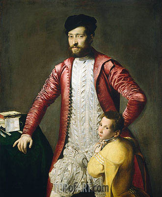 Alessandro Alberti with a Page, undated | Titian | Painting Reproduction