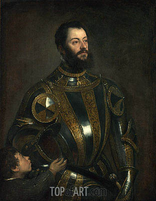 Portrait of Alfonso d'Avalos, Marchese del Vasto, in Armor with a Page, 1533 | Titian | Gemälde Reproduktion