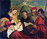 Madonna and Child with SS. Stephen, Jerome and Maurice | Tiziano Vecellio Titian