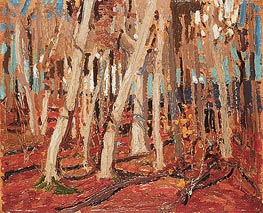 Maple Woods, Bare Trunks, 1915 von Tom Thomson | Gemälde-Reproduktion