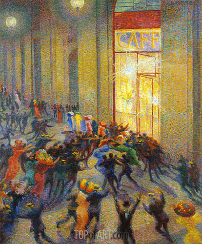 Riot in the Galleria (A Brawl), 1910 | Umberto Boccioni | Painting Reproduction