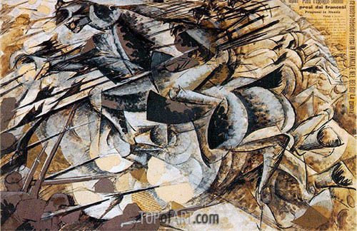 Charge of the Lancers, 1915 | Umberto Boccioni| Painting Reproduction