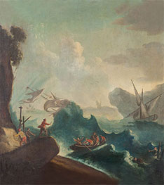 Seascape with Storm and Travelers in a Boat | Unknown Master | Painting Reproduction