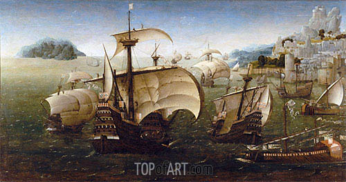 Portuguese Carracks off a Rocky Coast, c.1540 | Unknown Master | Painting Reproduction
