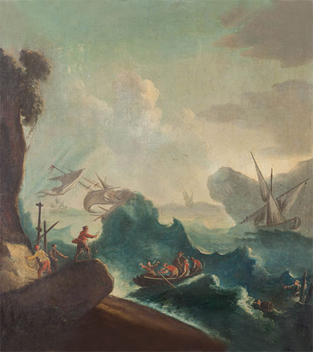 Seascape with Storm and Travelers in a Boat, undated | Unknown Master | Painting Reproduction