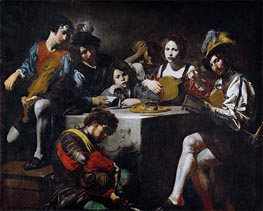 Concert around the Bas-Relief | Valentin de Boulogne | Painting Reproduction