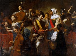 Fortune Teller with Concert Party, 1631 by Valentin de Boulogne | Painting Reproduction