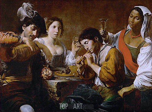 Reunion in a Cabaret, c.1625 | Valentin de Boulogne | Painting Reproduction