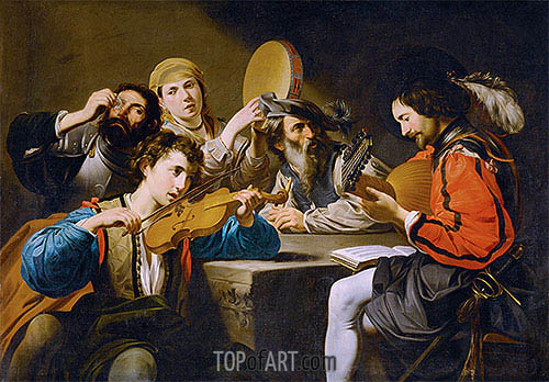 A Musical Gathering, undated | Valentin de Boulogne | Painting Reproduction