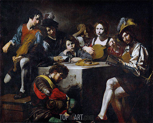 Concert around the Bas-Relief, c.1622/25 | Valentin de Boulogne | Painting Reproduction
