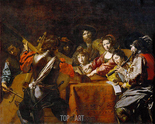 Valentin de Boulogne | Concert with Eight People, c.1628/30