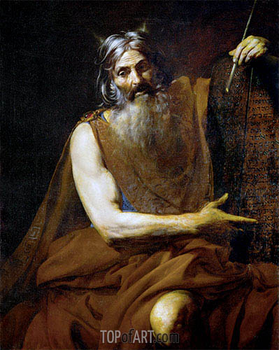 Moses with the Tablets of the Law, c.1627/32 | Valentin de Boulogne| Painting Reproduction