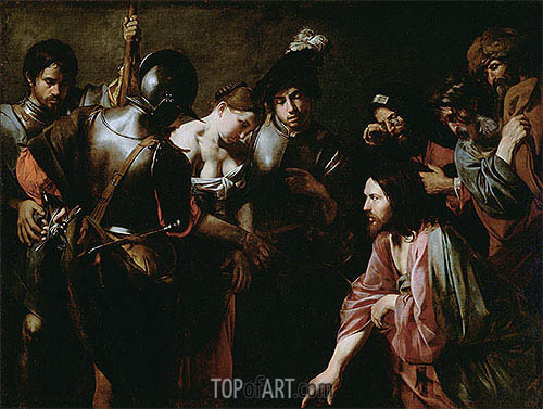 Valentin de Boulogne | Christ and the Adulteress, c.1620/30