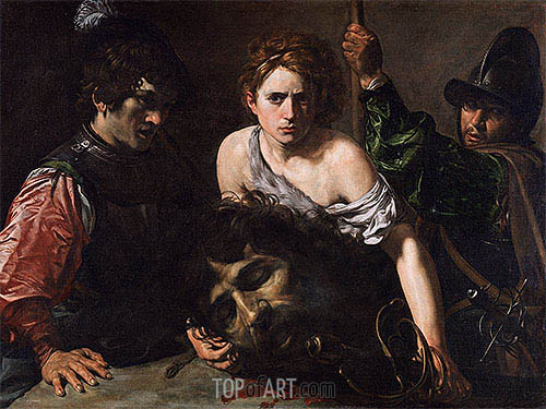 David with the Head of Goliath and Two Soldiers, c.1620/22 | Valentin de Boulogne| Painting Reproduction