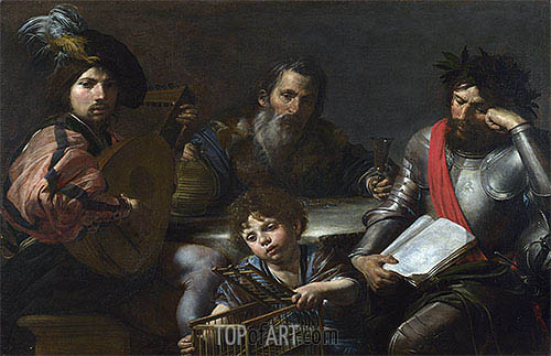 The Four Ages of Man, c.1629 | Valentin de Boulogne| Painting Reproduction