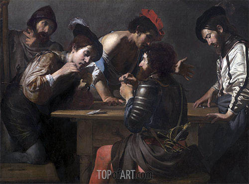 Soldiers Playing Cards and Dice (The Cheats), c.1618/20 | Valentin de Boulogne| Painting Reproduction