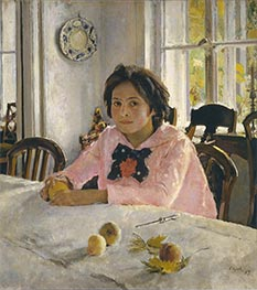 Girl with Peaches, Portrait of Vera Mamontova, 1887 von Valentin Serov | Gemälde-Reproduktion