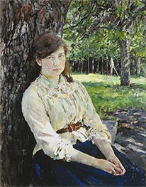 Girl in the Sunlight, Portrait of Maria Simonovich, 1888 von Valentin Serov | Gemälde-Reproduktion