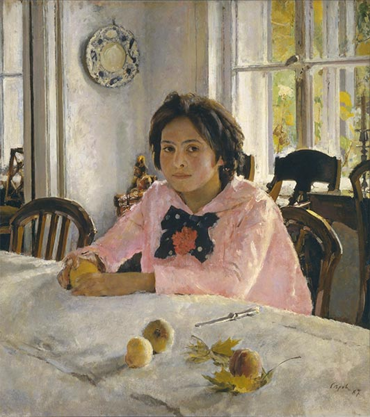 Girl with Peaches, Portrait of Vera Mamontova, 1887 | Valentin Serov | Gemälde Reproduktion