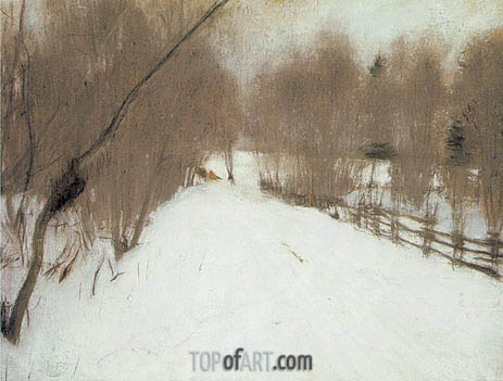 Road in Domotcanovo, Winter, 1904 | Valentin Serov | Painting Reproduction