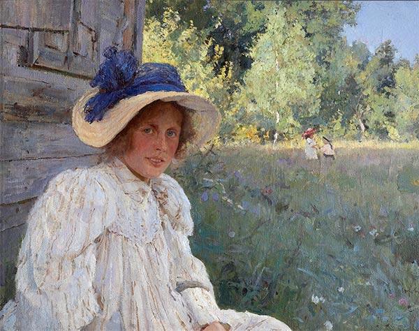 Valentin Serov | Summertime, Portrait of Olga Serova, 1895