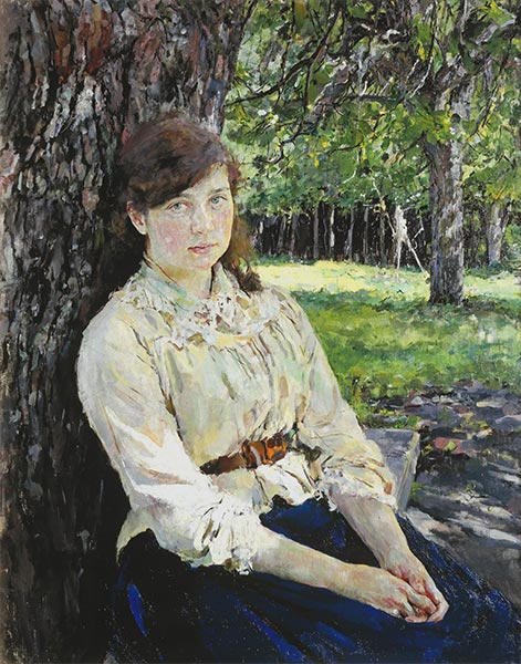 Girl in the Sunlight, Portrait of Maria Simonovich, 1888 | Valentin Serov | Gemälde Reproduktion