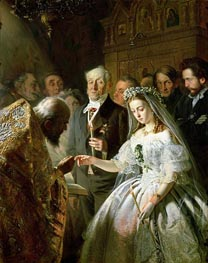 The Arranged Marriage, 1862 von Vasily Pukirev | Gemälde-Reproduktion