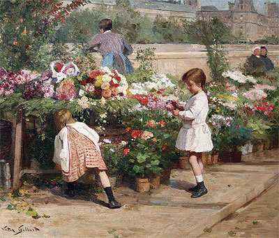 The Young Flower Seller,  | Victor Gabriel Gilbert | Painting Reproduction
