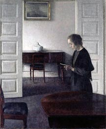 Interior with a Lady Reading, c.1900 by Hammershoi | Painting Reproduction